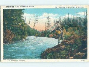 Pre-Chrome WATER SCENE Sunnyside Washington WA AH6594