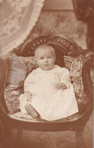 RP: Portrait of Sweet Baby Girl sitting in chair, 1900-10s