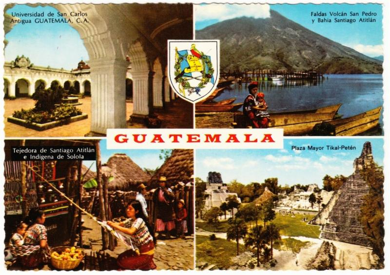 Guatemala Coat of Arms and Scenes 1960s-1970s Multi View Postcard #2