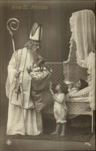 Christmas - French Cleric VIVE ST. NICOLAS Real Photo Postcard c1910