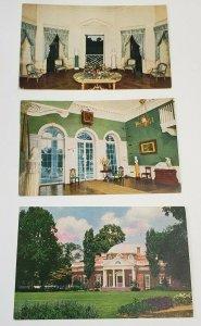 3 set Thomas Jefferson MONTICELLO Charlottesville Virginia Typogravure Postcards