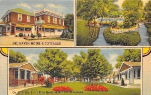 Bel Air Maryland~Del Haven Hotel~Motel Cottages~Pool~Bridge~1940 Linen Postcard
