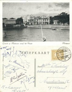 indonesia, CELEBES SULAWESI MAKASSAR, Town View from small Pier (1930) Postcard