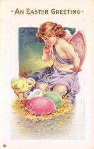 Easter~Angel Child in Purple Robe~Chick Hatches~Colored Eggs~White Emboss~302 C