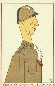 World War 2 - SATIRE General William Hood Simpson Cartoon Postcard - 04.72