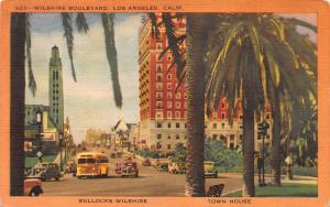 Wilshire Boulevard, Los Angeles, California, Early Postcard, Used in 1953