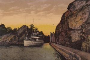 Sweden Trollhattan Nya Slussarne Boat In Canal