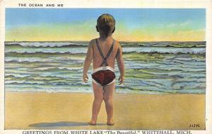 Whitehall Michigan~White Lake~Little Boy in Vintage Swimsuit @ Surf~1920s Pc