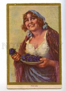 233538 First violets SELLER of Flowers BELLE Vintage postcard