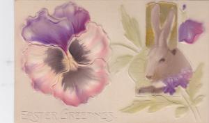 Embossed, EASTER; Greetings, Pansy Flower, Portrait of rabbit, 00-10s