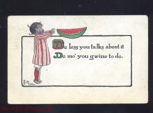 ANTIQUE BLACK AMERICANA GIRL WATERMELON VINTAGE POSTCARD