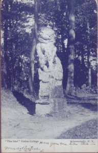 SCHENECTADY - GREAT view of the Chinese statue, The Idol at Union College, 1905