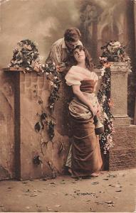 Romance Couple Lovers Flirt over Fence Flowers, Voro Gravure 1914