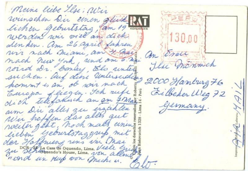 Peru, Oquendo's House, Lima, 1981 used Postcard