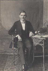 Early studio photography elegant young man portrait Eastern Europe Romania