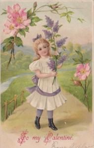 Valentine's Day Young Girl With Flowers