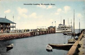 Plymouth Massachusetts Steamship Landing Waterfront Antique Postcard K61181