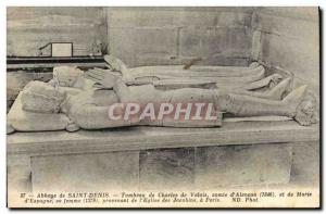 Postcard Abbey of Saint Denis Tomb of Count Charles of Valois d & # 39Alencon...