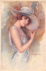 Fancy Giant Hat, Illustrator T. Corbella Artist Signed Painting Postcard
