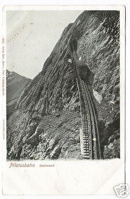 Incline Train Pilatusbahn Switzerland 1905c postcard