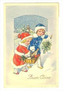 Buon Anno, Two kids in snow, PU-1927