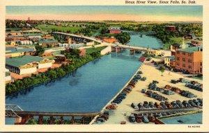 South Dakota Sioux Falls View Of Sioux River 1941 Curteich