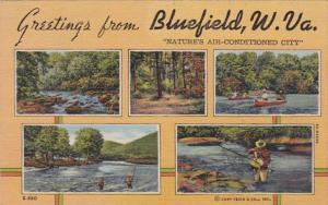 West Virginia Greetings From Bluefield Multi View Curteich
