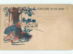 Pre-Linen comic SOMETHING IN THE WIND - HOBO SMELLS CAMPGROUND COOKING k3699