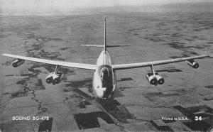 US Plane~Boeing BG-47B~Jet Airplane in Flight~1950s B&W Arcade Card~USA #34