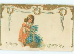 Pre-Linen GIRL WITH BASKET OF FORGET-ME-NOT FLOWERS AC2215