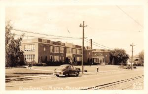 Milton Freewater Oregon~High School~Girls in Bobby Socks~Sidewalk~1940s Car~RPPC