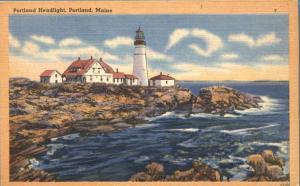 Portland Head Light at Portland, Maine on Atlantic Coast - Linen