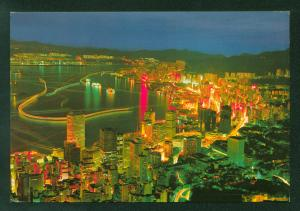 Hong Kong Big City Night Glimmers Stars Skyline Skyscrapers Water View Postcard