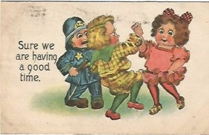 Children Dancing Vintage Postcard Sure we are having a good time. 1914 SB Sams