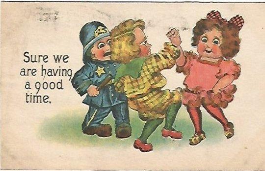 Children Dancing Vintage Postcard Sure we are having a good time. 1914 SB Sams