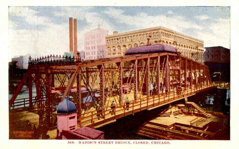 IL - Chicago. Madison Street Bridge, Closed