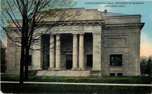 Ann Arbor MI~Thick Ionic Pillars Alumni Memorial Hall~University~1910 Postcard