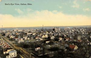 Galion OH~Birdseye View of Dirt St, Trolley Tracks~Neighborhoods~Big School~1910