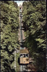germany, BADEN-BADEN, Drahtseilbahn mit Station Merkur, Funicular Railway (1958)