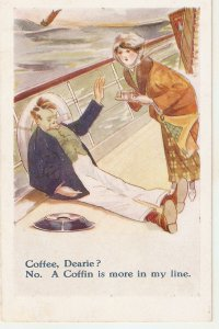 Coffee, Dearie?. No- A Coffin is...  Humorous vintage English postcard