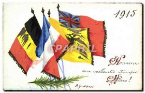 Old Postcard Honneux To brave troops allied 1915 (drawing hand)