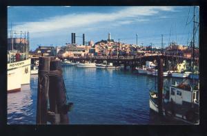 San Francisco, California/CA Postcard, Fisherman's Wharf, Coit Tower, Docks