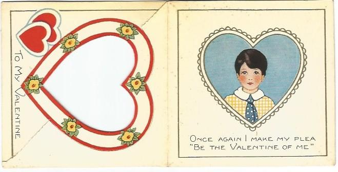 Valentine's Day Card Die Cut Little Boy in Red Heart Cutout To My Valentine
