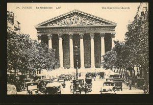Vintage Paris France The Madeleine Church (Cars) Cormault Imp  Postcard