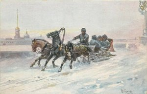 RUSSIA ART publisher K.G.A. postcard a troika typical horses sledge by Gouriev