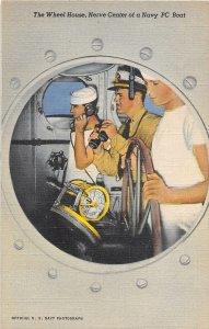 Wheel House Crew Nerve Center of US Navy PC Boat postcard