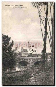 Old Postcard Nights in Ravieres Bridge on Armancon