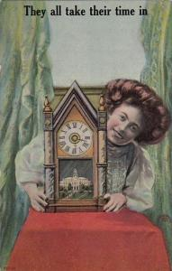 Beautiful Woman Holding Clock They All Take Their Time In