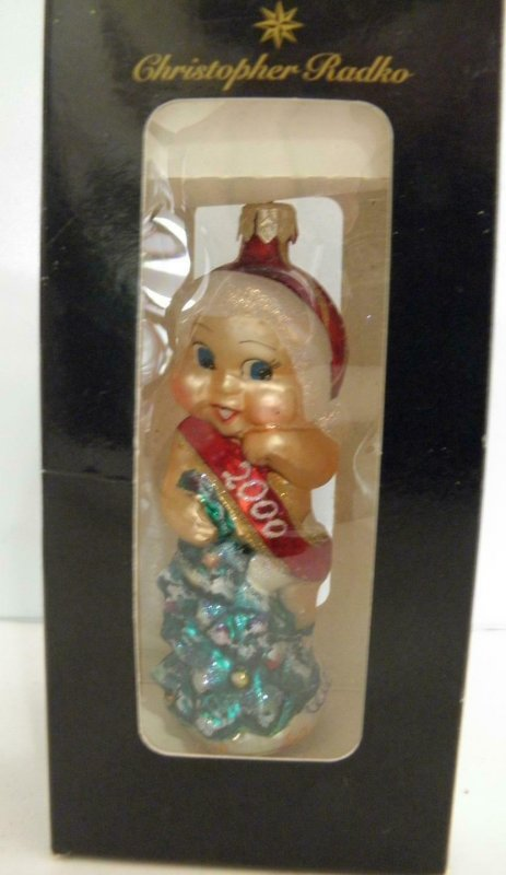 CHRISTOPHER RADKO CHRISTMAS KEWPIE 2000 GLASS ORNAMENT NEW IN BOX*MADE IN POLAND