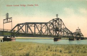 Vintage Postcard Illinois Central Bridge Omaha NE Douglas County Steel Truss